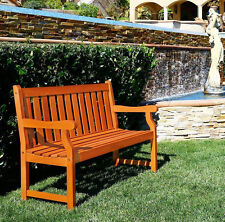 Wood Outdoor Bench 2 Seat Eucalyptus Garden Yard Patio Deck Furniture Durable