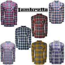 Lambretta Mens Shirts MOD Checked Pocket Collar T-Shirt Long Sleeve Soft UKS-2XL