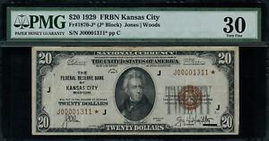 1929 $20 Federal Reserve Bank Note - Kansas City - Star Note FR.1870-J* - PMG 30