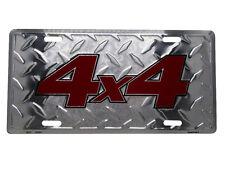 "4x4 Four 4 Wheel Drive Truck Jeep Diamond Deck 6""x12"" Aluminum License Plate Tag"