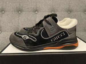 GUCCI Men's Ultrapace Sneakers In Black, Grey & Orange $790