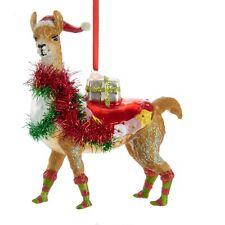 Jolly Llama in Santa Hat Christmas Holiday Ornament Glass 5 Inches