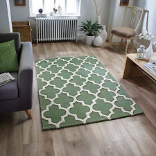 Moroccan Tile Rugs In Sage Green & Cream Modern Handmade Wool Rugs 80X150CM