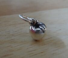 Sterling Silver 3D Small 10x8mm solid Apple Charm for Teacher or back to school