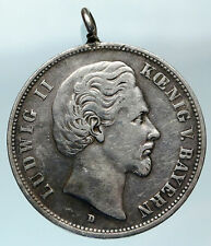 1876 BAVARIA KINGDOM German STATE King LUDWIG II Old Silver 5 Mark Coin i83681