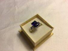 1 x Beautiful Silver Tone Ring/Amethyst/Diamante Coloured Stones/approx Size P