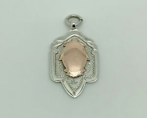Antique 1919 Sterling Silver & Rose Gold Blank Unengraved Watch Fob/Pendant