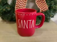 "Rae Dunn ""Santa"" Red Christmas Coffee Mug with white Stitching New 2020 Holiday"