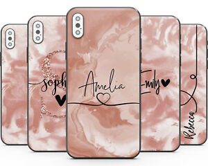 Matt Finish Personalised Rose Marble Phone Case Cover for Apple iPhone Name