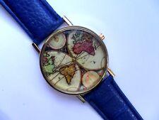 Reloj de Cuarzo mapa del mundo inusual oro ante Correa Azul