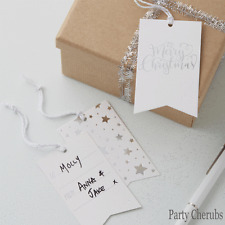 CHRISTMAS GIFT TAGS - SILVER LOOK  x 8 - Silver Star Design