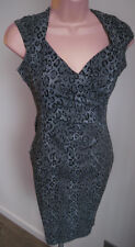 *LIPSY* Grey Leopard Print Pencil Stretch Dress - BNWT Size 8 (RRP £45)