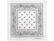 1 x Bandana Foulard BLANC Motif cachemire sur 100% Coton Écharpe Tissu nicki