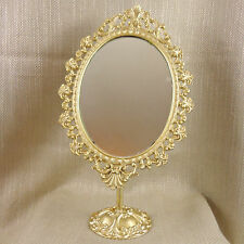 VANITY MIRROR ANTIQUE VINTAGE TOILET DRESSING TABLE GOLD ORNATE OVAL FRENCH VTG