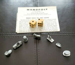 Vintage 1961 Monopoly Replacement Game Piece 7 Pawn Token Mover & 2 Dice