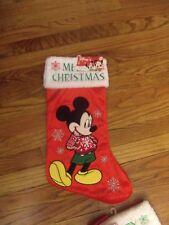 "Disney Mickey Mouse Merry Christmas 20"" Red- White & Green Stocking Nwt"