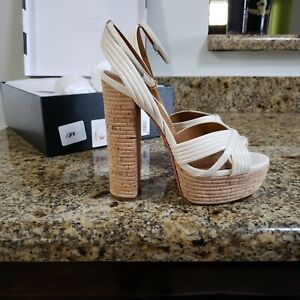 Aquazzura Sundance Plateau 140 Cream Sandals Size 37.5
