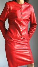 MORGAN TAYLOR  RED LEATHER  SUIT -   JACKET and  SKIRT  fits 6-8