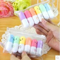 6pcs Cute Pill Shaped Highlighter Pens Smile Face Graffiti Marker Pen Christmas