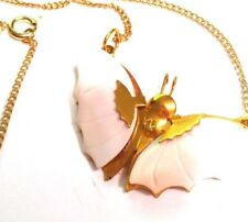 Butterfly Necklace White Glass Vintage Gold Tone