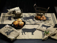 primitive country farmhouse CATTLE cow Placemats, Table Runners, Dish Towels