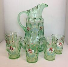 Antique Victorian Uranium Green Glass Floral Enamel Painted Pitcher 6 Piece Set