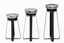 Set Of 3 Glass Candle Holders With Black Metal Stands