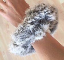 Grigio Naturale Reale Vera Pelliccia di Coniglio Fascia per Capelli Elastica Bobble Tie elastici per capelli