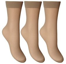 3 Pair Silky Smooth Anklets Ankle Pop Trouser Socks Comfort Top Natural Tan