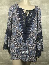 Democracy XL Blue Boho Peasant Blouse Crochet & Tassel Detail Long Bell Sleeves