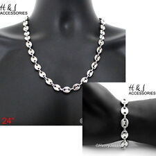 "24""Stainless Steel 10x3mm Silver Puffed Mariner Link Chain Necklace Bracelet*139"
