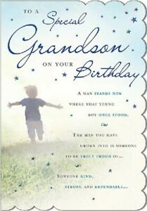 """To A Special Grandson On Your Birthday. Large Card 9"""" x 6""""."""