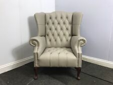 Chesterfield London Wing Chair in Pale Grey Genuine Leather (Brand New)