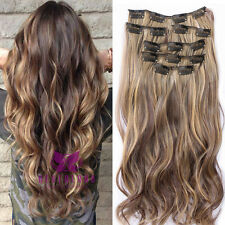 "22"" 3/4 Hair Extensions Ombre Clip Synthetic As Human Wavy One Piece Lady Grils"
