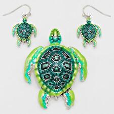 Turtle Pendant Earrings Beach Nautical Sealife SILVER GREEN Fashion Jewelry