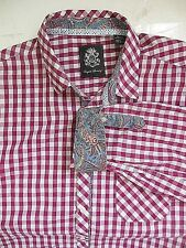 English Laundry Mens Checkered Shirt 2XL White Dark Pink Contrasting Flip Cuffs