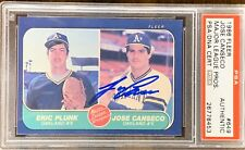 1986 FLEER Jose Canseco AUTO ROOKIE RC PSA DNA AUTOGRAPH #649 Major League Pros