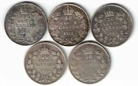 5 X CANADA TEN CENTS DIMES KING GEORGE V STERLING SILVER COINS 1911 - 1915