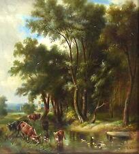Feines Gemälde im Rahmen Kühe Landschaft Bild 1871 Schmidt signiert