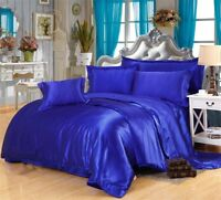 ROYAL BLUE 100% SILK LIKE POLYESTER 1PC REVERSIBLE COMFORTER BOX QUILTED 200 GSM