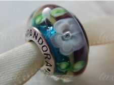 Pandora Murano Glass Charm with Flowers Bead Silver S925 ALE New