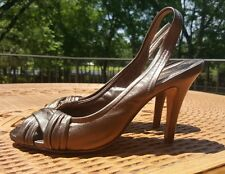 COLE HAAN LEATHER LADIES SHOES NIKE AIR HEELS PUMPS bronze SIZE 9.5 B