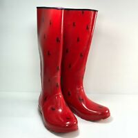 Polo Perla Red Navy Rubber Round Toe Mid Calf Pull On Womens Rain Boots Sz 7B