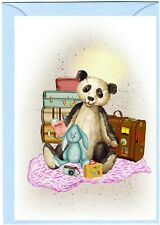"""Panda Teddy Bear (No.4) (4"""" x 6"""") Blank Card for any occasion - by Starprint"""
