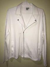 Asos Womens Size XXL White Moto Sweater Jacket White Zipper Pockets Lightweight