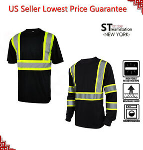 L&M Hi Vis T Shirt Reflective Safety Black Short Long Sleeve HIGH Visibility