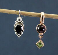 Black Onyx Garnet Rose Gold Plated Combo Pendant Set 925 Sterling Silver Jewelry
