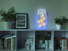 New Fireflies In A Jar Neon Art Sign Handmade Visual Artwork Wall Decor Light