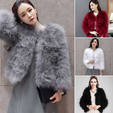 UK Womens Faux Ostrich Fur Coat Ladies Turkey Feather Trench Jacket Outwear TY