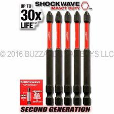 "5 Milwaukee #2 PH2 Shockwave 3.5"" IMPACT Bit, 48-32-4564 SAVE $$ w/Combined Ship"